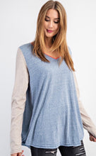 Load image into Gallery viewer, Chambray Blue V-Neck Slub