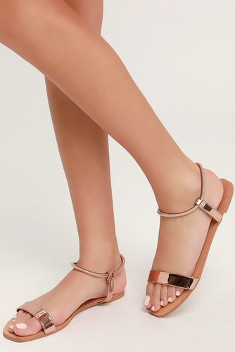 Rose Gold Metallic Sandals