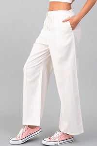 Lilac Linen Drawstring Pants in Soft White