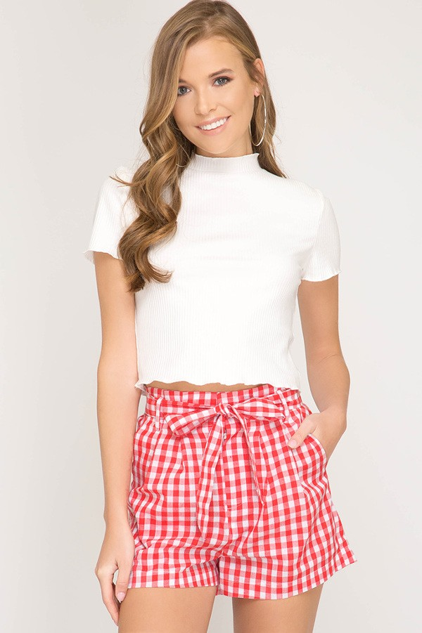 Red and White Gingham Shorts
