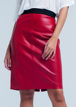 Load image into Gallery viewer, Sara Vegan Leather Pencil Skirt in Red