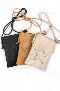 Star Mini Crossbody Purse in Grey