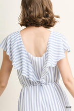 Load image into Gallery viewer, Paisley Blue Stripe Romper