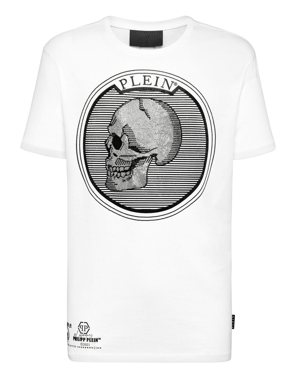 T-Shirt Homme blanc col rond outline Plein