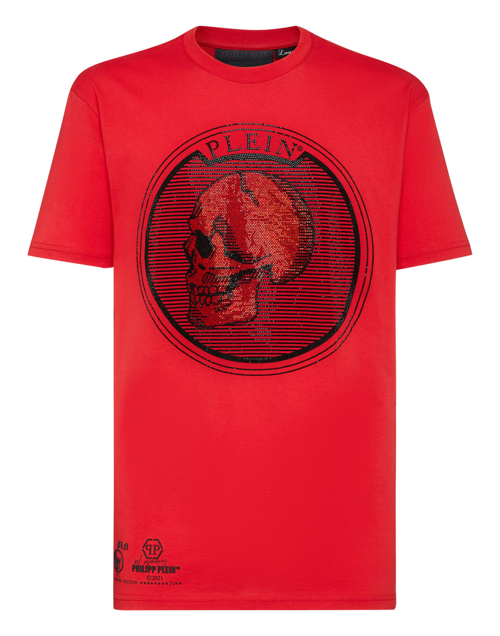 T-Shirt Homme rouge col rond outline Plein