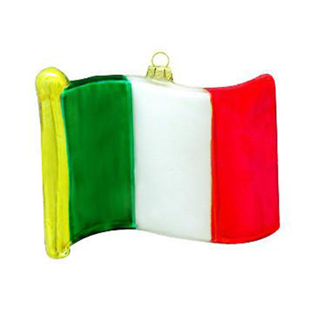Italian Flag Glass Ornament