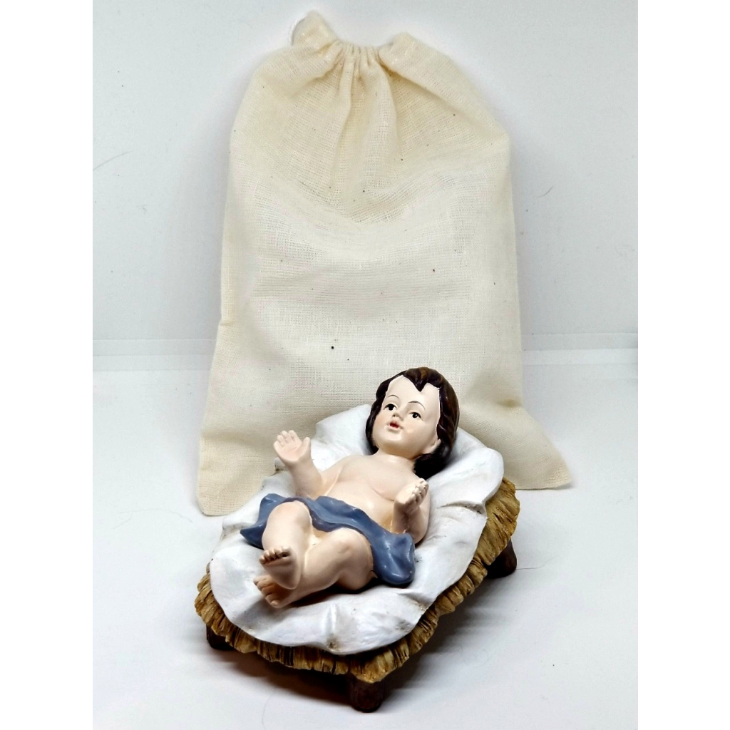 Two-Piece Christ Child in Manger - with drawstring bag