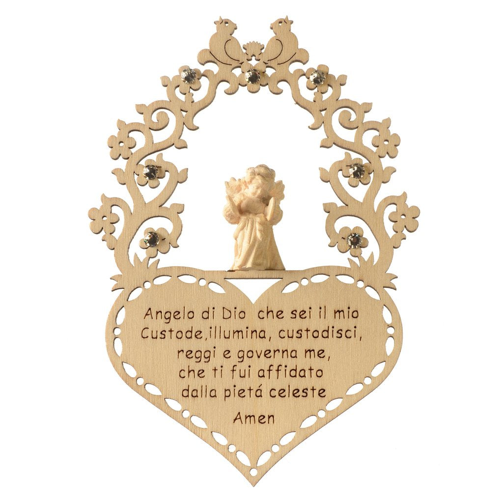 English In Italian: From Italy! Guardian Angel Prayer With Swarovski-From Val