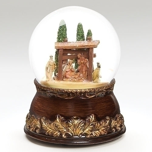 "Woodtone Musical Nativity Dome plays ""We Three Kings"""