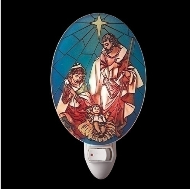 NEW! Fontanini Stained Glass Holy Family Night Light