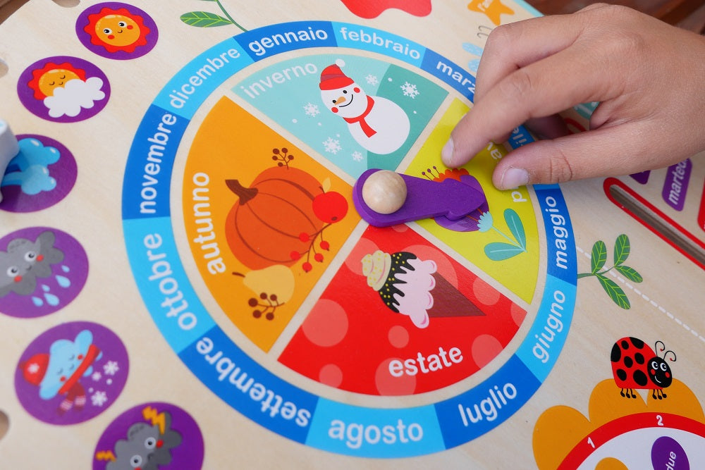 Wooden Daily Activity Board - In Italian