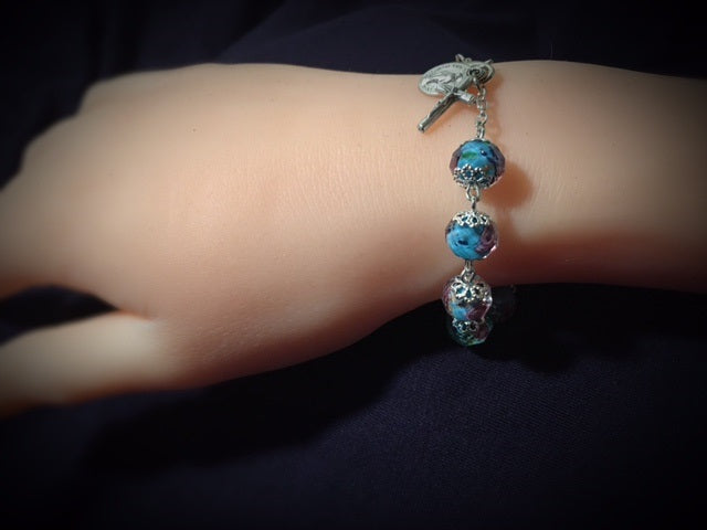 MADE IN ITALY. Light Blue Crystal Rosary Bracelet