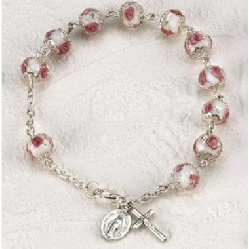 MADE IN ITALY. White and Pink Crystal Rosary Bracelet