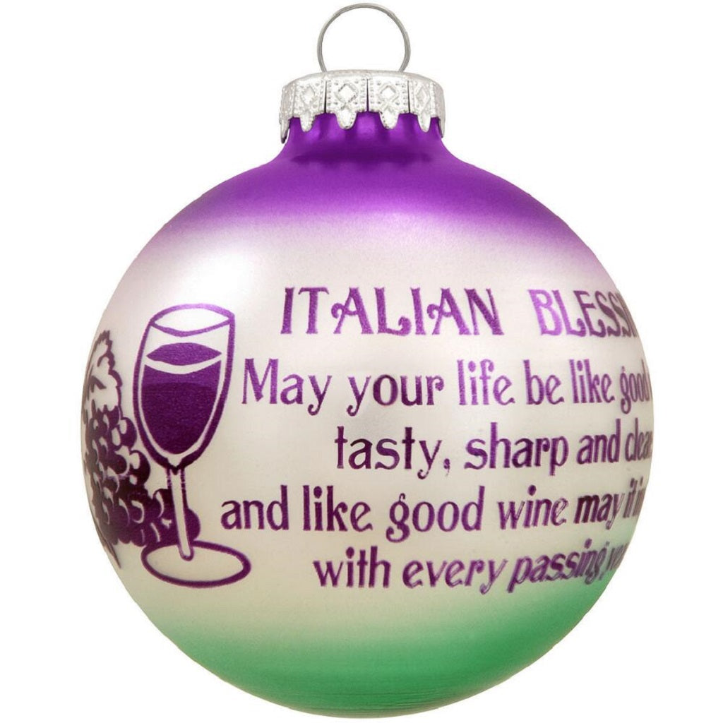 Italian Blessing Wine Glass Ornament