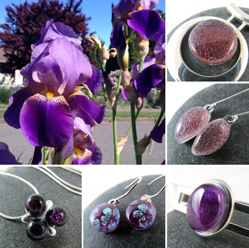 Purple jewelry inspired by gorgeous spring flowers.