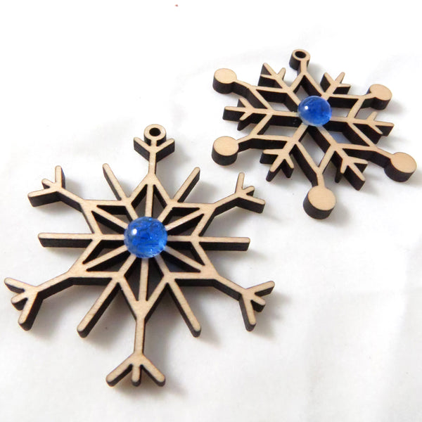 Glass Elements wood and glass snowflake ornaments