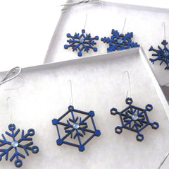 All the Snowflakes - 2 Sets - Snowflake Ornament Sets - Wood & Glass - Blue