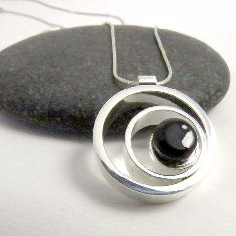 Ripple Effect - Black Silver and Glass Necklace