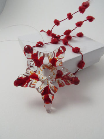 Glass Star Christmas Tree Ornament - Red