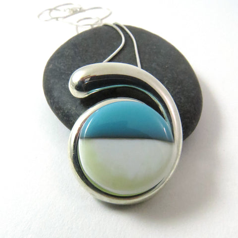 Ebb & Flow - At the Beach - Silver and Glass Necklace