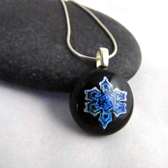 Blue & Silver Snowflake Pendant - One of a Kind Pendant - Ready to Ship
