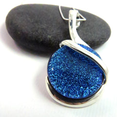 Encompass - Bright Blue Silver and Glass Necklace