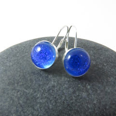 Bright Blue Earrings-  Sterling Silver Leverback Earrings