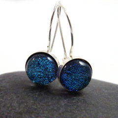 Bright Blue Sterling Silver Set Dangle Earrings