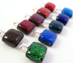 Simple Square Pendant - You Choose the Color - Glass Elements - 1