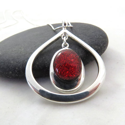 Burnt Orange Teardrop Necklace - Silver and Glass Necklace