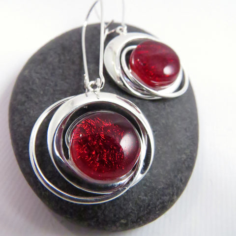 Cosmic Swirl Earrings - Candy Apple Red Earrings