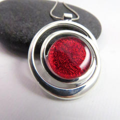 Cosmic Swirl - Candy Apple Red Silver and Glass Necklace