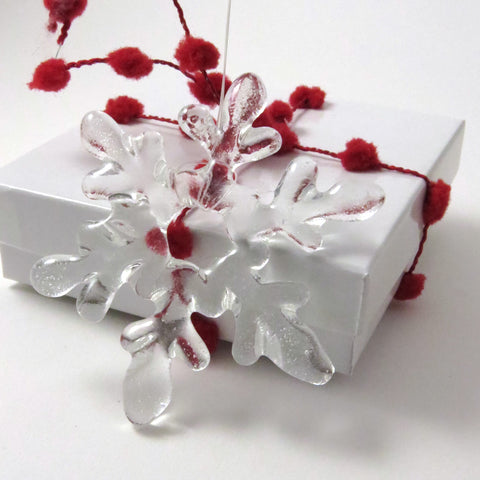 Glass Snowflake Christmas Tree Ornament - Clear
