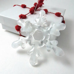 Glass Snowflake Christmas Ornament - Clear and White