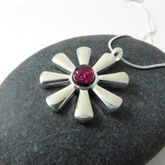 Cranberry Pink Flower Necklace - Silver and Glass Necklace