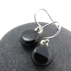 Classic Small Black Earrings - Fused Glass Earrings