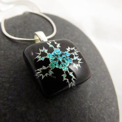 Bronze & Green Snowflake Pendant - One of a Kind Pendant - Modern Fused Glass