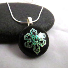 Golden Green Snowflake Pendant - One of a Kind Pendant - Modern Fused Glass