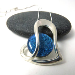 Bright Blue Silver Flow - Silver and Glass Necklace
