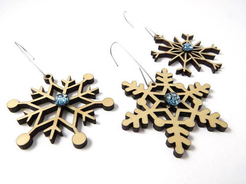 Lumi - Snowflake Ornament Set - Wood & Glass - Natural Birch