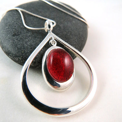 Candy Apple Red Teardrop Necklace - Silver and Glass Necklace