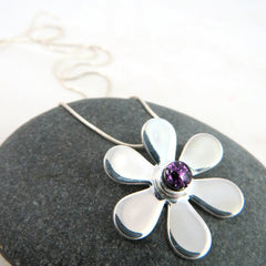 Royal Purple Gerbera Daisy - Silver and Glass Necklace - Glass Elements - 1
