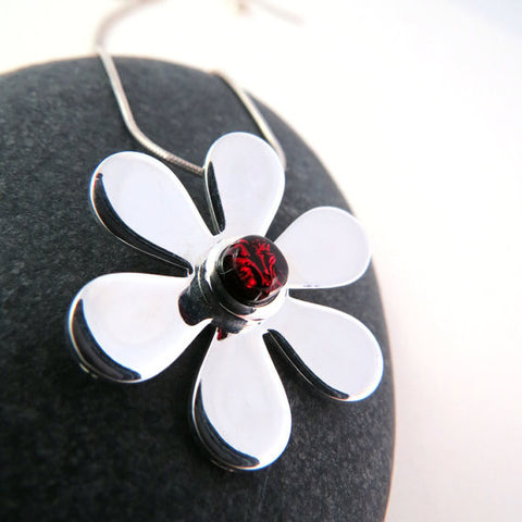 Garnet Red Gerbera Daisy - Silver and Glass Necklace