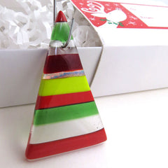 Handcrafted Christmas Ornament - Glass Tree - Red, Green, White