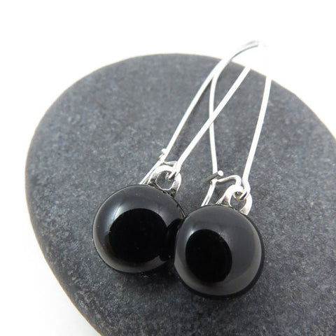 Classic Black Earrings - Fused Glass Earrings