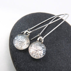 Silver Frost Dangle Earrings - Glass Elements - 1