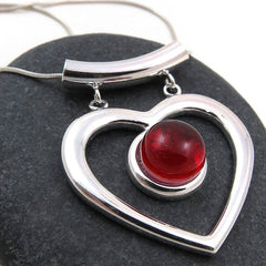 Red Heart Necklace - Silver and Glass Necklace - Glass Elements - 1