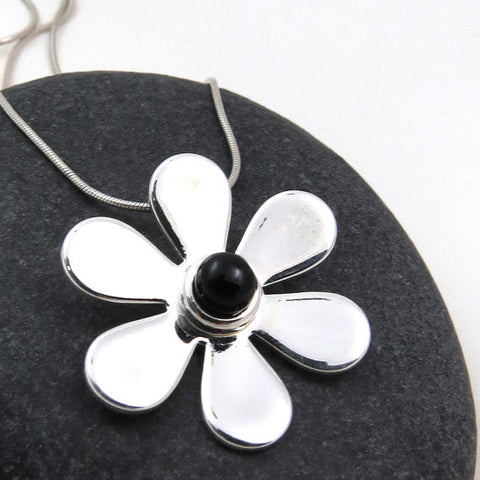 Black Gerbera Daisy - Silver and Glass Necklace