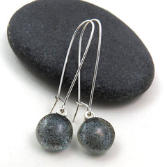 Grey Silver Dangle Earrings - Glass Elements - 1