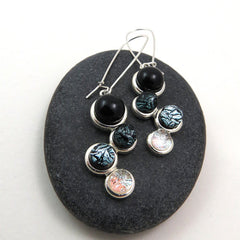 Ombre Earrings - Black to Silver Dangles - Glass Elements - 1